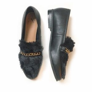 A New Day Faux Fur Gold Chain Black Loafer Flat